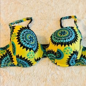 Cacique Yellow & Turquoise Boho Patterned Bra 40DD